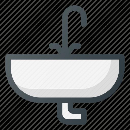 bathroom, interior, sink, tap, wash icon