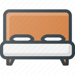 bed, bedroom, double, furniture, hotel, sleep icon