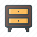 bedroom, cupboard, furniture, interior, nightstand icon