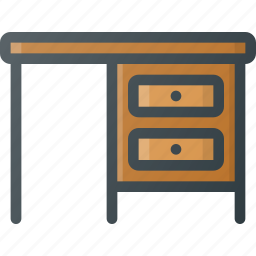 desk, furniture, table, working icon