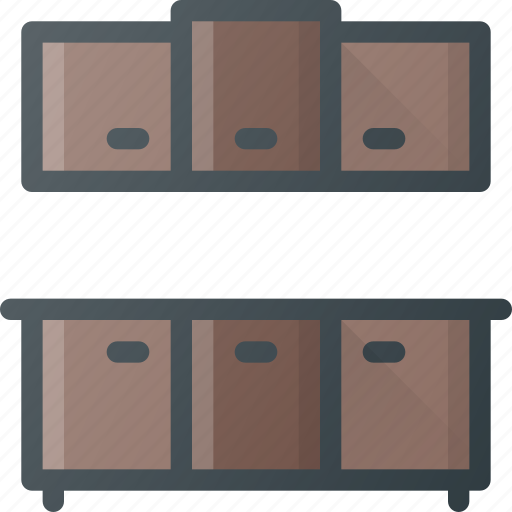 cabinets, counter, furniture, kitchen icon