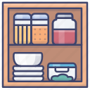 cabinet, containers, food, storage icon