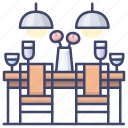 chairs, dinner, interior, table icon