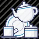 porcelain, set, tableware, tea icon