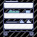 kitchen, shelf, storage, trolley icon