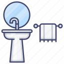 bathroom, stand, towel, wash icon