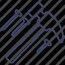 carpenter, hammer, nails, tools icon
