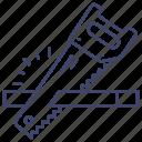carpenter, cut, saw, tool icon