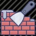 bricks, scraper, tool, wall icon