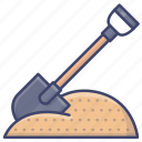 construction, sand, shovel, spade icon