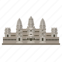 anceint, angkor wat, cambodia, ruins, siem reap, temple, travel icon