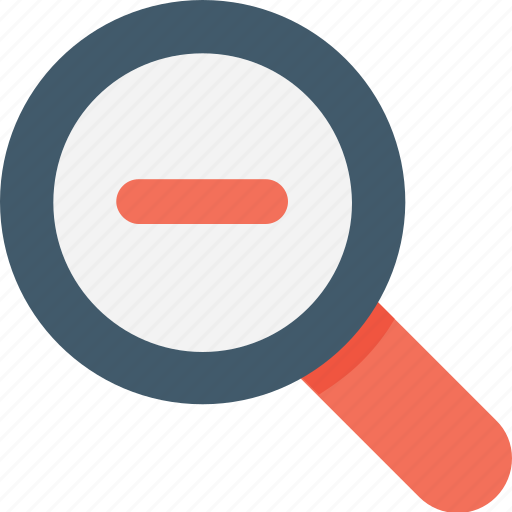 loupe, magnifier, minimize, search tool, zoom out icon