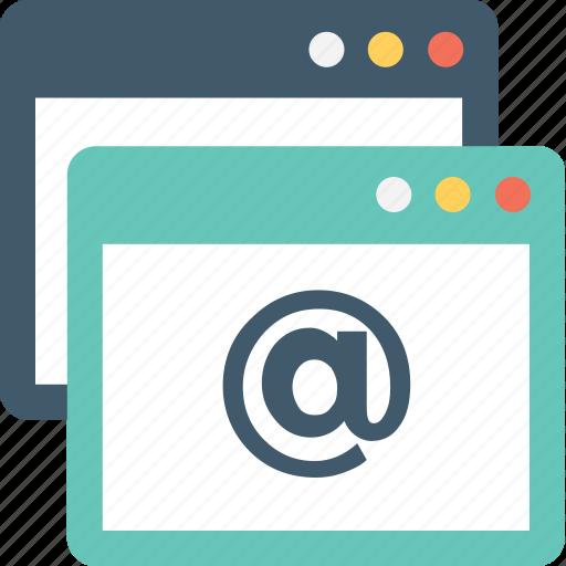 arroba, browser, web page, website, windows tab icon