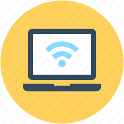 internet, laptop, wifi connection, wifi signals, wireless internet icon