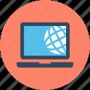 globe, globe grid, internet, internet connection, laptop