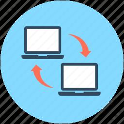 data exchanging, data sharing, laptops, sharing, wireless sharing icon