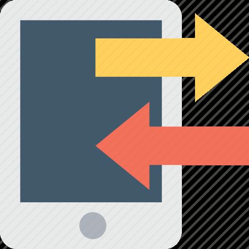 arrows, data share, data transfer, mobile, smartphone icon