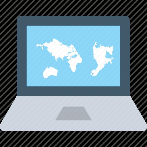 laptop, macbook, map, navigation, online map icon