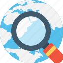 globe, internet search, magnifier, optimization, searching icon