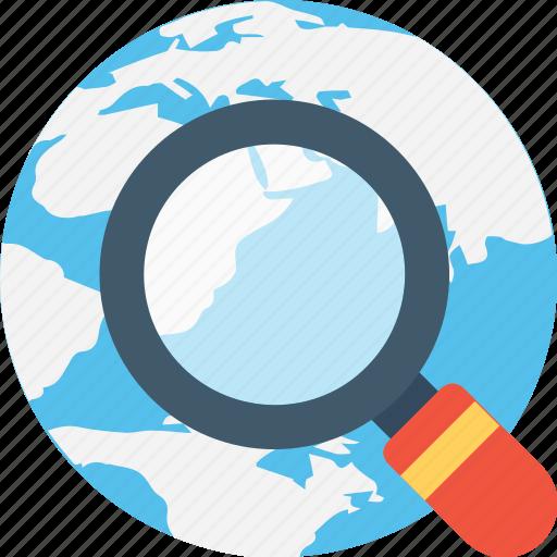 globe, internet search, magnifier, optimization, searching icon