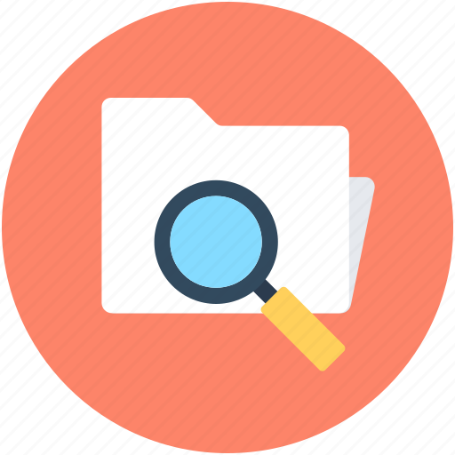 documents, find in folder, folder magnifying, magnifier, search folder icon