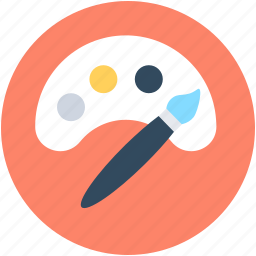 art, designing, paint brush, paint palette, painting icon