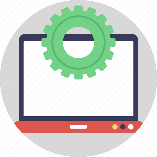 computer engineering, computer settings, computer software engineering, information technology, laptop screen gears icon