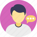 discussion, male consultant, speech, talk, talking person icon