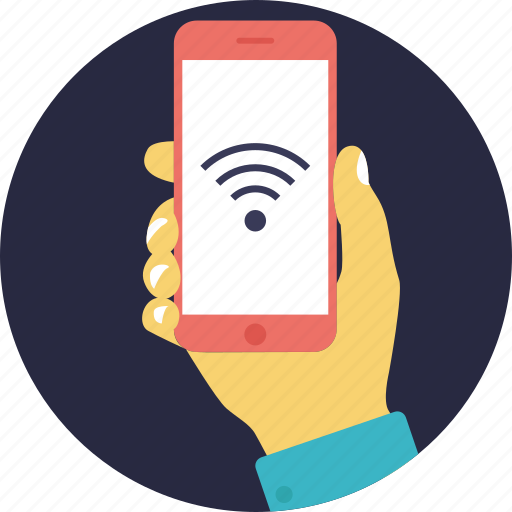 cellular network, mobile internet, mobile wireless network, smartphone wireless connection, wifi on mobile phone icon