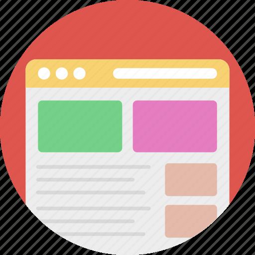 website designing, website drafting, website layout, website template, website wireframe icon