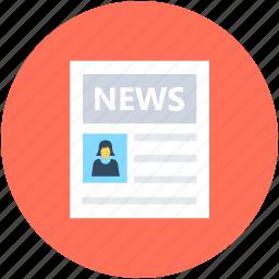 blog, media, news, news article, newspaper icon