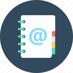 address book, contacts, email addresses, email agenda, mailbox icon