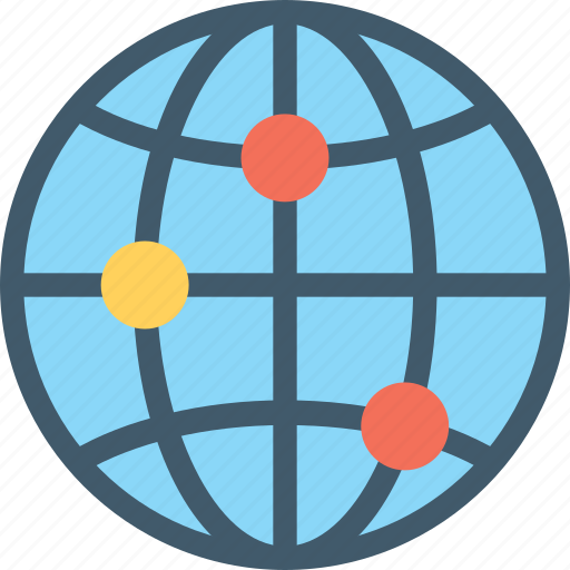 global coverage, global network, globe, map, planet icon