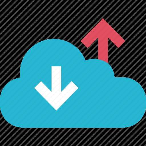 arrow, cloud, down, internet, online, up, web icon