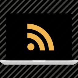 internet, laptop, mac, online, rss, web icon