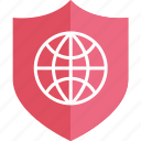 globe, internet, online, shield, web, world icon