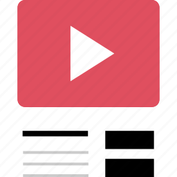 internet, list, online, play, video, web, youtube icon