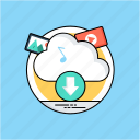 cloud computing, cloud downloading, cloud storage, remote server, remote web hosting icon