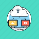 cloud computing, cloud information, cloud storage, information technology, remote web hosting icon