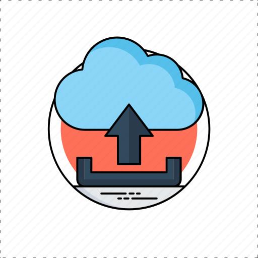 cloud computing, cloud storage, cloud uploading, data transmit, file upload icon