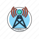 internet access point, wifi network, hotspot, communication tower, signal tower, wireless antenna icon