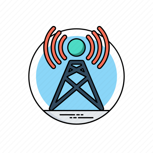 communication tower, hotspot, internet access point, signal tower, wifi network, wireless antenna icon