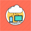 big data, cloud computing, cloud sharing, cloud storage, information technology icon