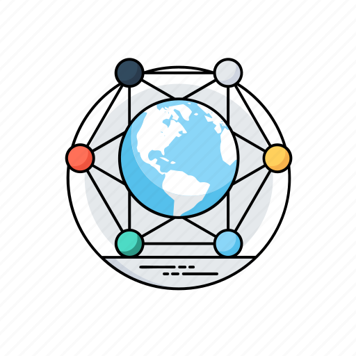 cyberspace, global connections, global network, global network diagram, internet icon