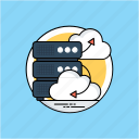 big data, cloud server, data infrastructure, data management, data warehouse icon