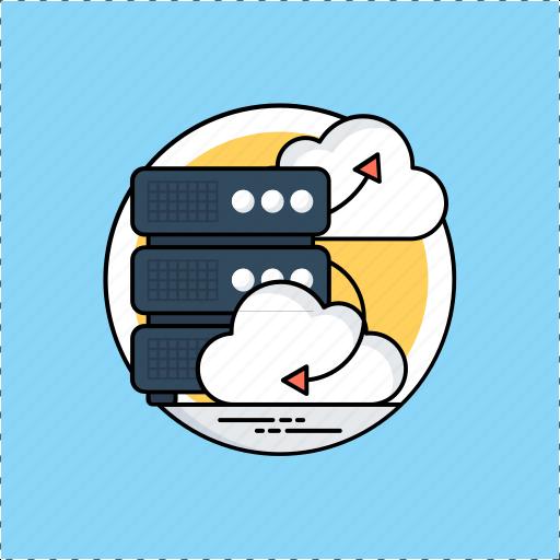 big data, cloud server, data infrastructure, data management, data warehouse icon