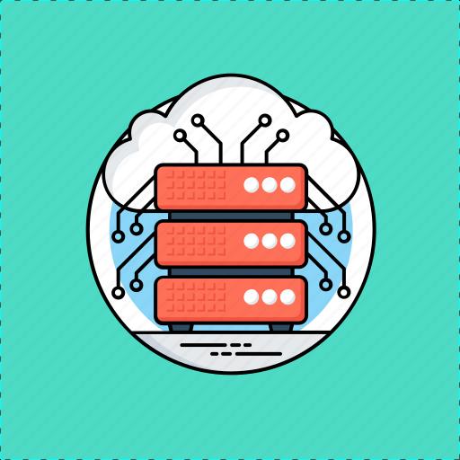 cloud computing, cloud database, cloud hosting, cloud server, remote data access icon