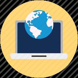 browsing, browsing and laptop, global, globe, laptop, notebook icon