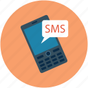 cell phone, cellular phone, message, mobile, mobile phone, sms, text icon
