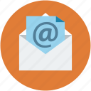 arroba, email, envelope, letter, mail, post, postal mail icon
